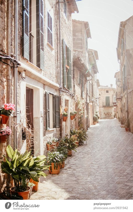 Mallorca Majorca Spain Vacation & Travel Mediterranean sea Exterior shot Summer Alley old houses Balearic Islands Tourism House (Residential Structure) South