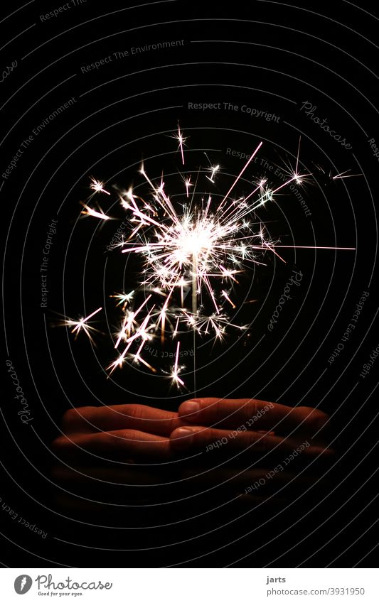 to a new .... stars Firecracker Sparkler Hand New Year's Eve Light (Natural Phenomenon) Night Feasts & Celebrations Glittering Party Bright Dark