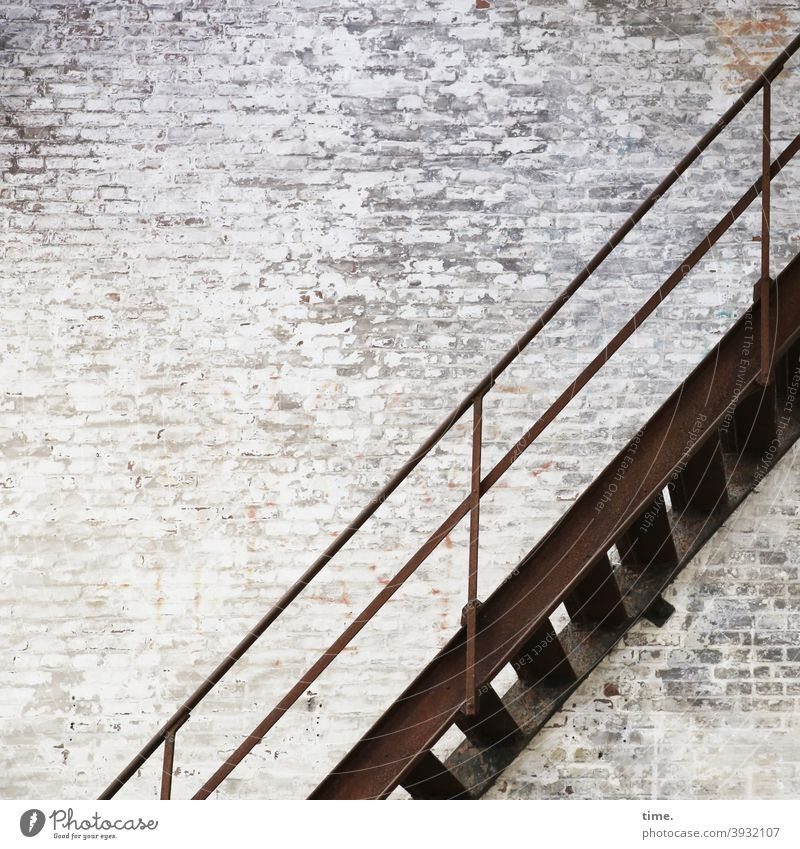 dutch wall stairs Wall (building) Stairs Wall (barrier) Trashy Old Brick wall Canceled Flake off Tall handrail Brown Landing Banister Connection obliquely