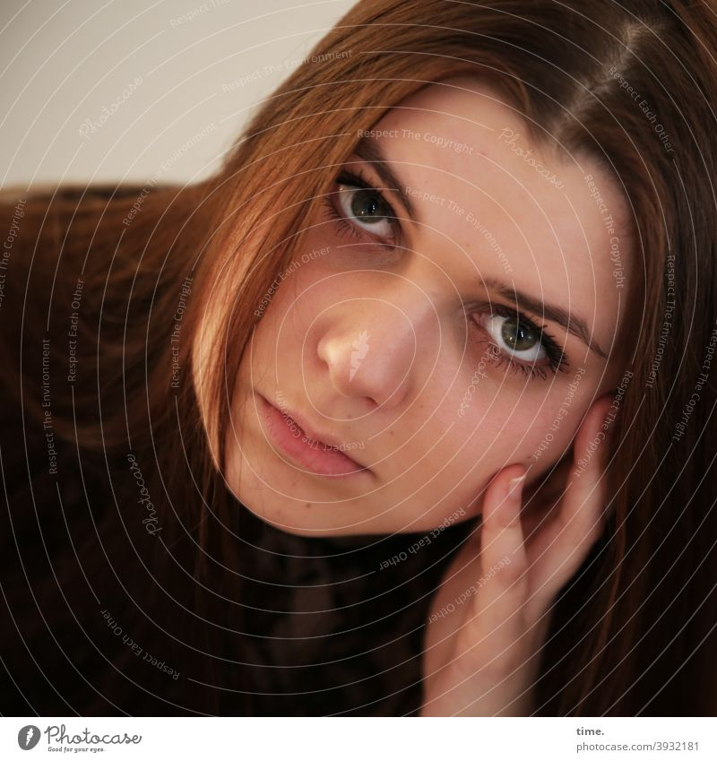 Natalia portrait Looking Long-haired brown-haired Brunette Rest on Hand concentrated Meditative Sweater
