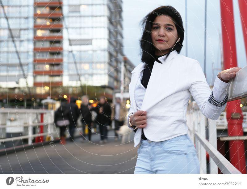 Elis Portrai High-rise Bridge chill Bridge railing urban Jacket jeans Dark-haired Long-haired Facade Skeptical Looking stop earring