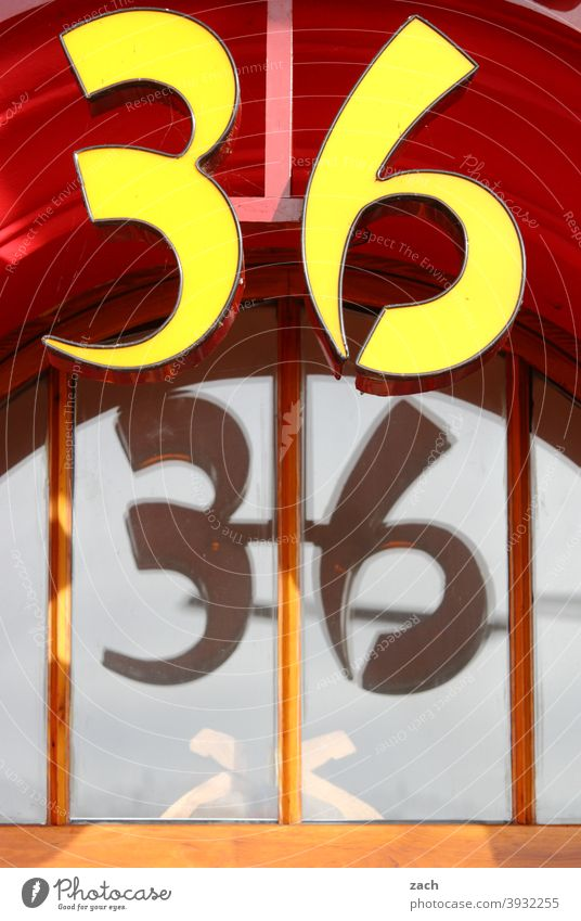 Number 36 number House (Residential Structure) Facade Digits and numbers Signs and labeling House number Glass Glas facade Slice Window