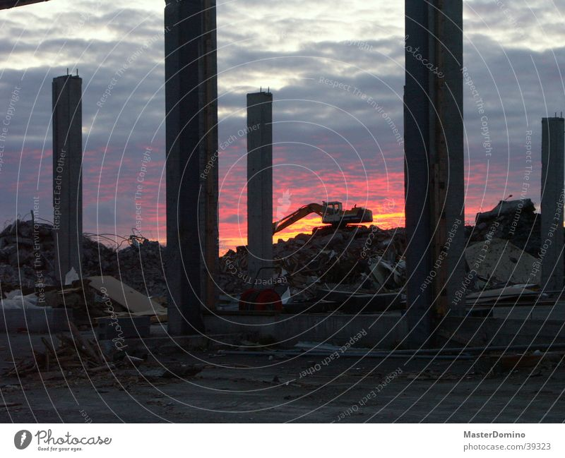 The Eden of Iceland Excavator Construction worker Construction site Chaos Sunset Clouds Building Destruction Broken Dismantling Hafnarfjörður Ruin Shovel