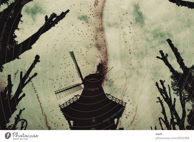 dead | and burnt down Mill Tree branches trees Apocalypse Death Windmill Experimental Analog analogue photography Scan