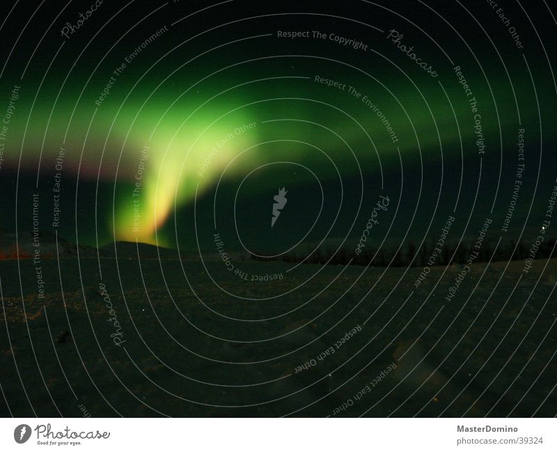 northern lights Aurora Borealis Iceland Night Natural phenomenon Green Glimmer Light Celestial bodies and the universe Cold Dark Glow North Yellow Mystic Magic