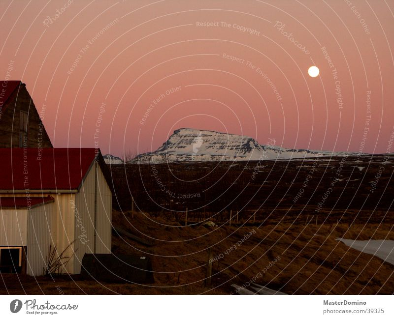 Harvest Moon Moonrise Red Redness Iceland Mountain afterglows moonset Snow Sky