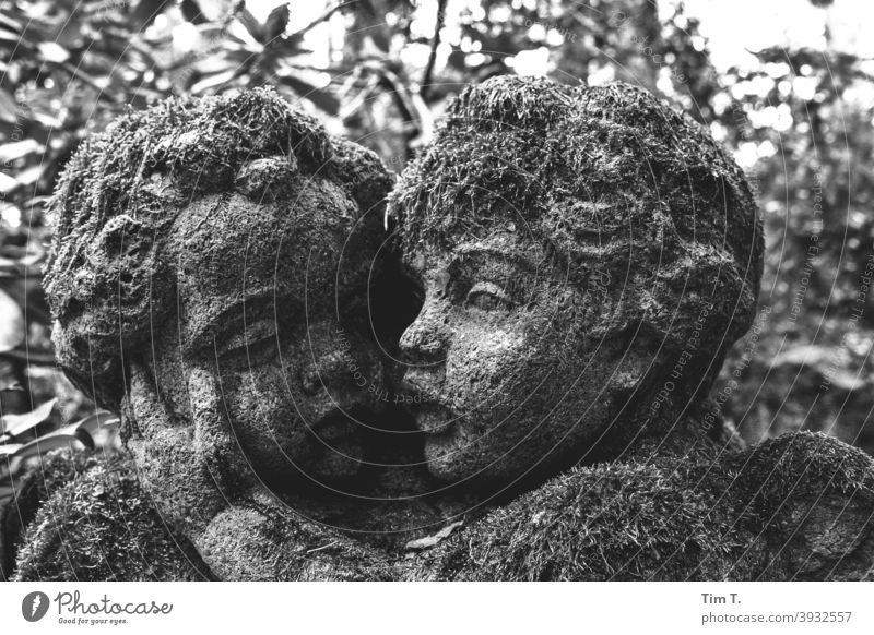 Two angels with moss b/w Angel Cemetery Black & white photo B/W Architecture Detail Dark Exterior shot Old