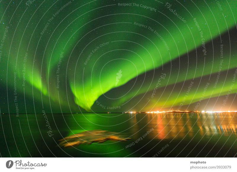 Aurora Borealis, Iceland Long exposure clearer Night sky Movement borgan Ocean ocean aurora polaris voyage destination Snow Tourist Attraction reflection Town