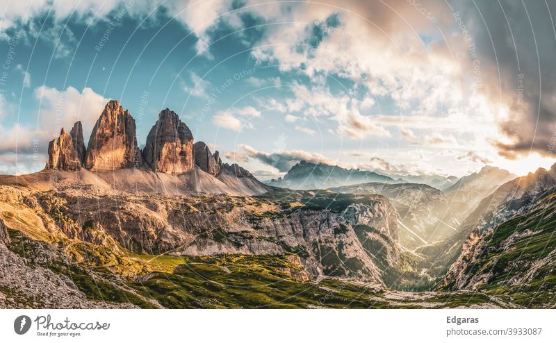 Panoramic view of sunset in Tre cime di lavaredo, Dolomites mountains, Italy dolomites italy Tre Cime di Lavaredo dolomiti Mountain Sunset mountains