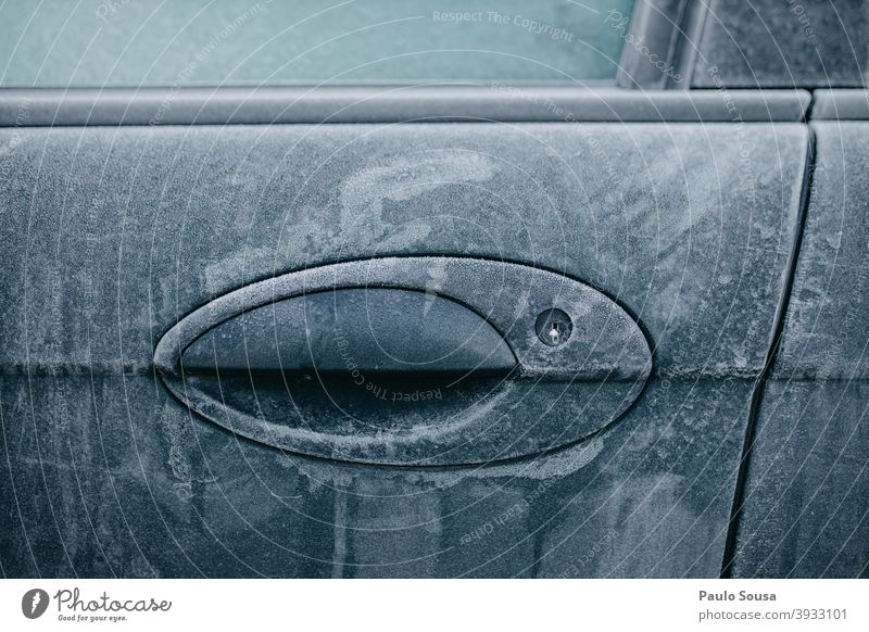 Frosty car lock Door Winter Car Cold Frozen Freeze Car Window Ice Car door Exterior shot Morning Snow Glass Blue Contrast Colour photo Deserted Window pane