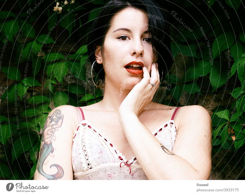 cute tattooed girl II woman nice beauty cool hipster dark hair young nature lifestyle people human portrait poses fashion modern park spain europe donostia