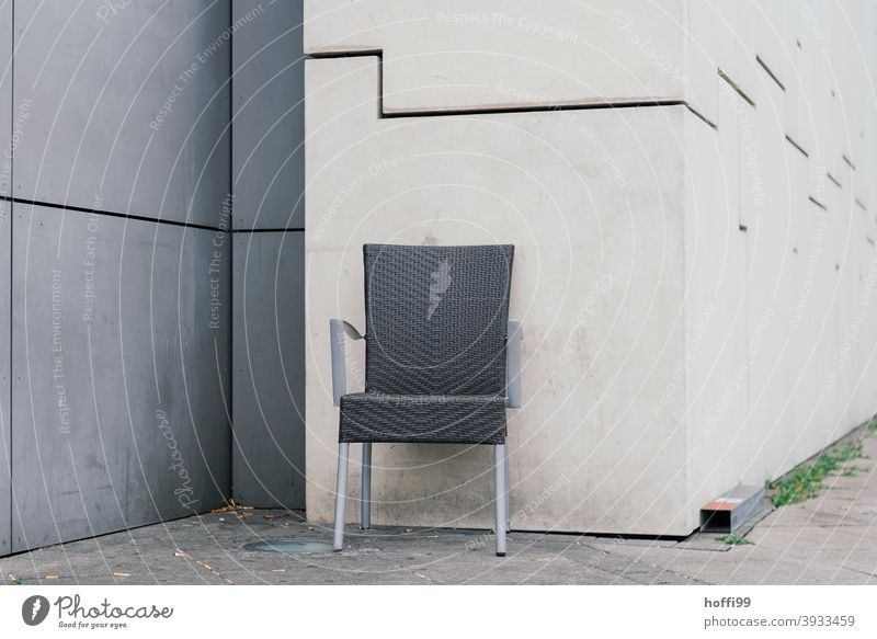 a chair alone in a corner Chair Wait Loneliness Gloomy Wall (building) Wall (barrier) Design Simple Esthetic Sit Folding chair Gray chairs Minimalistic