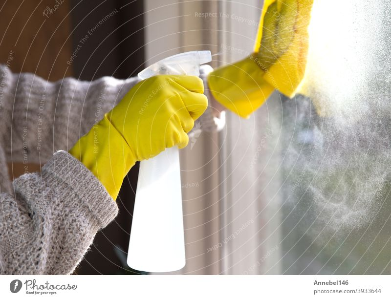 Cleaning a window with spray detergent, Yellow rubber gloves and dish cloth on work surface concept for hygiene, business and health concept antibacterial