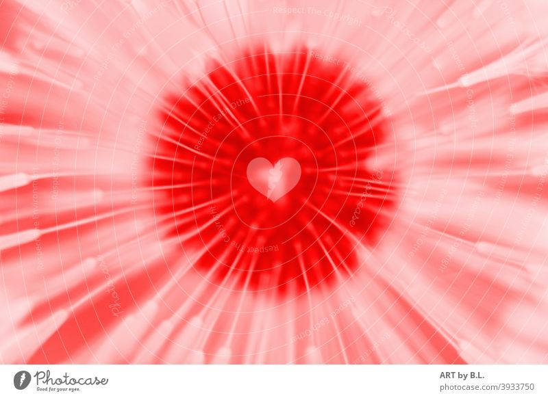 Heart in a dandelion, digitally processed Sincere Digital detail background Red White Love Affection photo editing