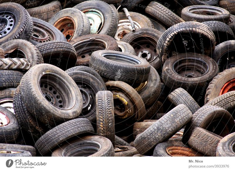 Used tyre collection point Tire Tire tread Rubber Black Scrap metal Recycling stacked Disposal Trash Stack Old Material Industry soiling waste recycling yard