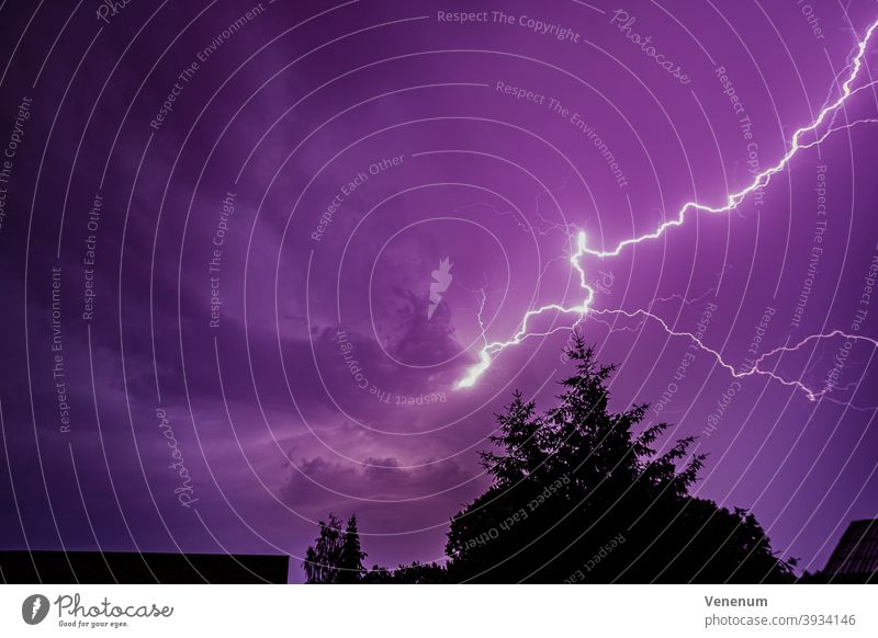 Thunderstorm with lightnings Storm weather cloud clouds city cities house houses germany summer spark discharge arc lightning flash electrostatic charge