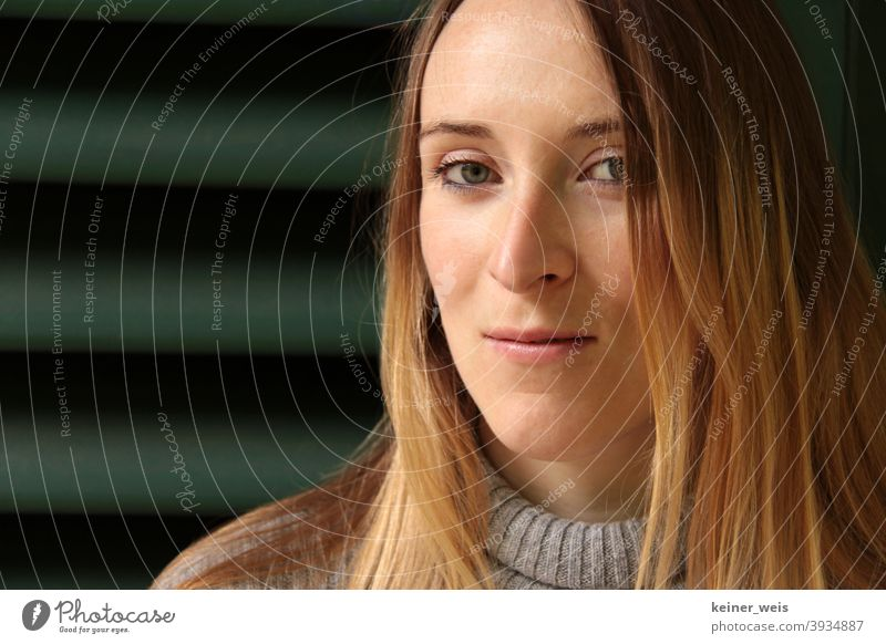 Portrait of a woman with a narrow face in front of green blinds Sweater Woman Venetian blinds Green green background Head portrait feminine grin Lips Nose