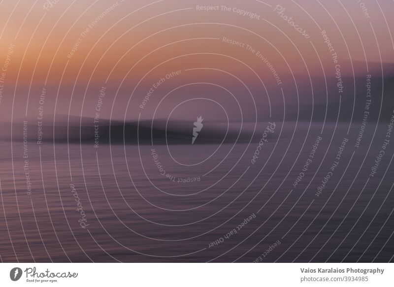 Abstract view of island in Greece, during sunset Motion blur Sunset Structures and shapes Colour photo Exterior shot peaceful scenery tranquil background