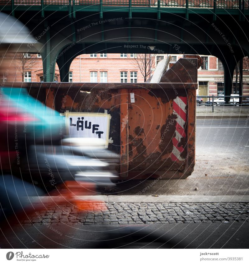 for cyclists things are going well Speed Container pass Piece of paper Stuck on Capital letter brushed on running Schönhauser Allee German Subculture Word
