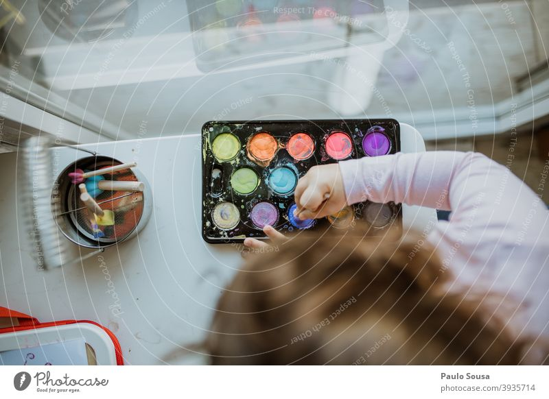 Child playing with colored watercolors Watercolor Watercolors Creativity 1 - 3 years Kindergarten Painting (action, artwork) Art Colour photo