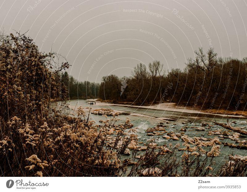 Isar bei München isar fluß bayern münchen natur landschaft wasser steine sträucher erholung Wasser freizeit herbstfarben