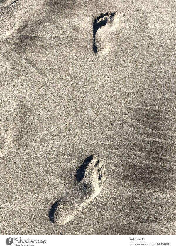 Barefootprints in the sand tourism barefoot travel footprints in the sand beach person coastline wet Mediterranean seashore lonely freedom alone human footstep