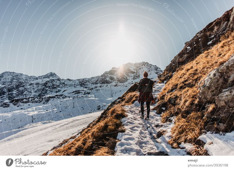 Winter hiking in Arosa, Grisons, Switzerland Snow Mountain Alps Blue Cold Tourism Destination Panorama (Format) Nature arosa Ice Shadow Vantage point Blue sky