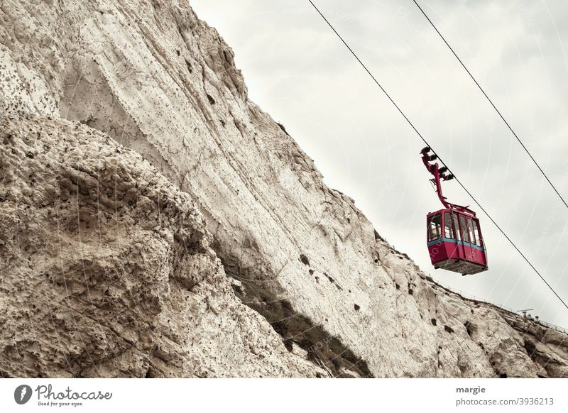 An empty cable car on the mountain Cable car ropes Mountain Mountain ridge Transport means of transport Empty Gondola Clouds Sky Deserted Trip Tourism