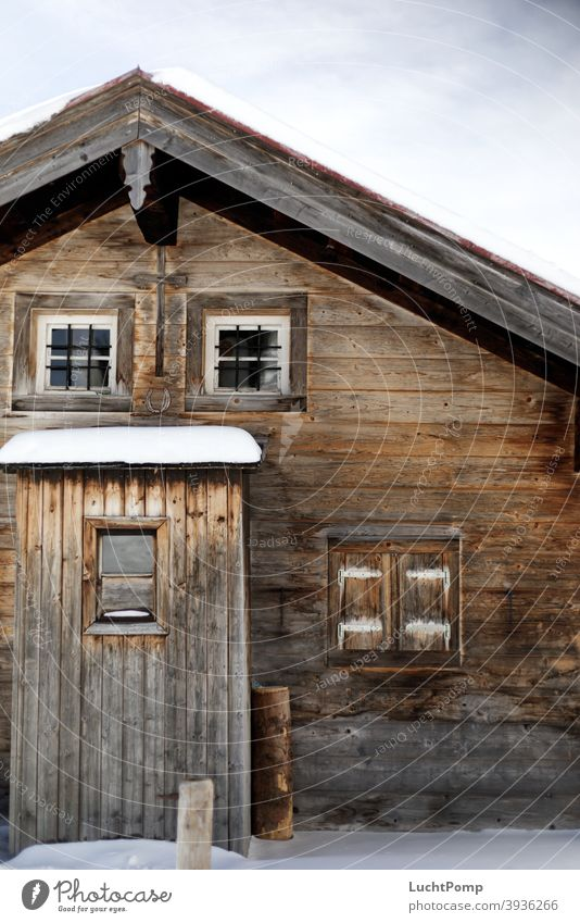 Wooden house with snow Hut Snow Colour photo Exterior shot Winter Cold Day Deserted Frost Winter vacation House (Residential Structure) hut fun Wooden board