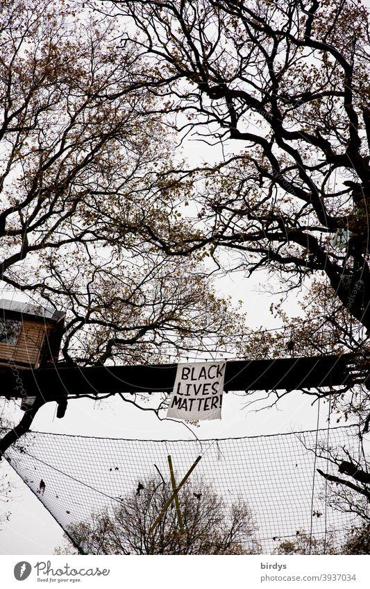 Black lives matter , banner at a tree house bridge in Hambacher Forst. Tree house Black Lives Matter transparent Solidarity Human rights Treehouse Bridge oaks