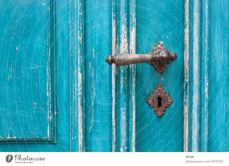 Turquoise Door Wood Metal Living or residing Old Blue Brown White Protection Romance Uniqueness Inspiration Transience Time Destruction Abrasion Colour photo