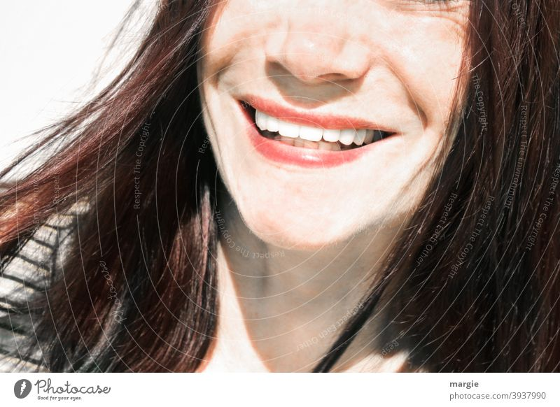A woman laughs into the camera, only the mouth and the nose are shown Face of a woman Human being Feminine Show your teeth Teeth beautiful woman beautiful teeth