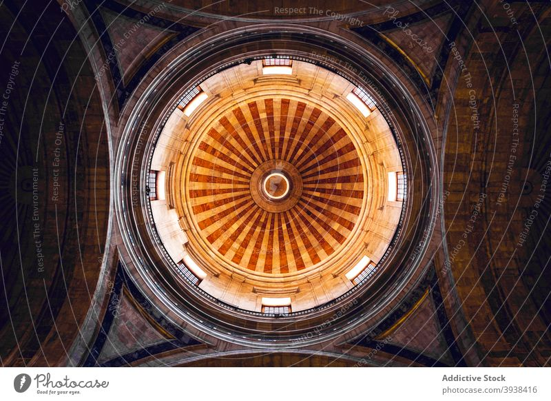Interior of historic Catholic cathedral with domed cupola church arch architecture ancient heritage sightseeing culture travel christian