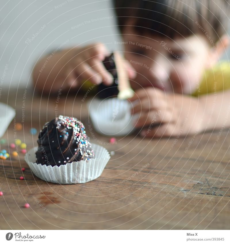 Human being Child Eating Feasts & Celebrations Food Infancy Birthday Smiling Nutrition Sweet To enjoy Cooking & Baking Mysterious Toddler Candy Delicious