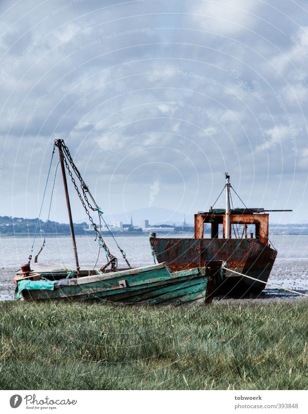 wreck couple Far-off places Ocean Sailing Clouds Weather Grass Meadow Navigation Boating trip Fishing boat Sailing ship Rope Old Movement Lie Swimming & Bathing