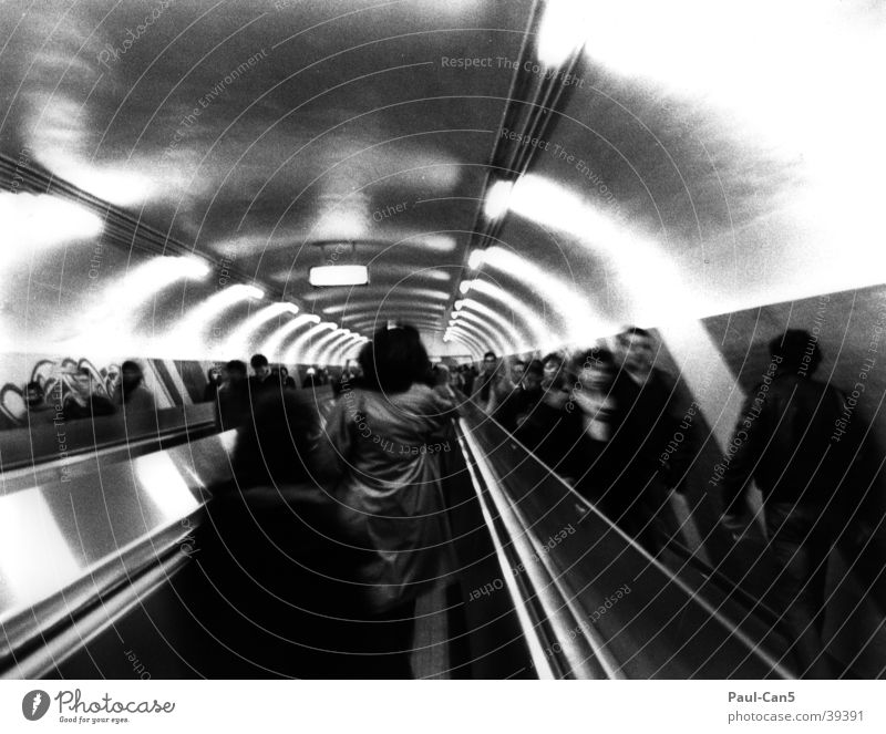 Paris Metro Blur Escalator Haste Tunnel Group Underground Movement Black & white photo