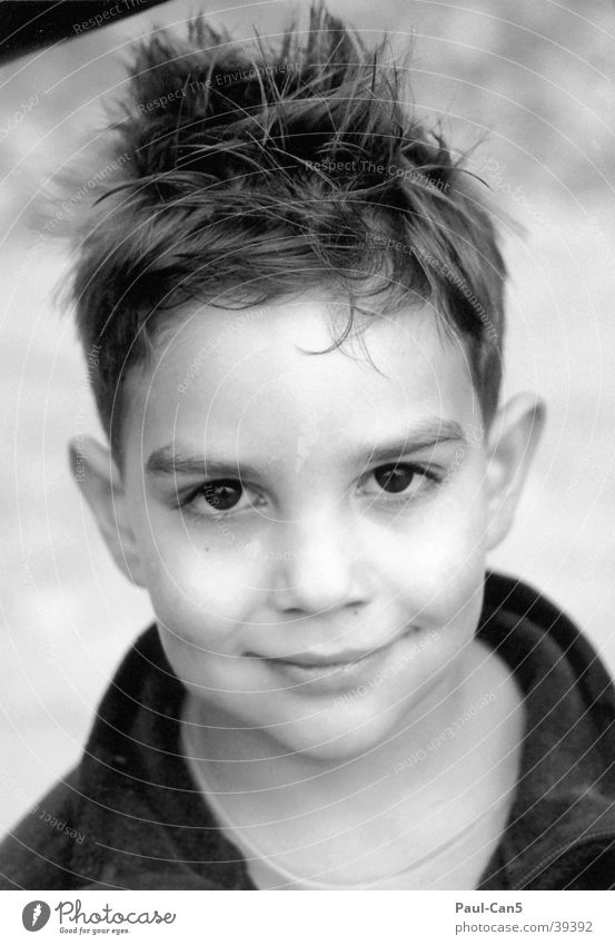 boy Short haircut Masculine Man Black & white photo Boy (child) 5 years Laughter Child