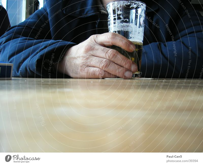 Man Hand Glass Perspective Beer Alcoholic drinks Thirst Thirsty