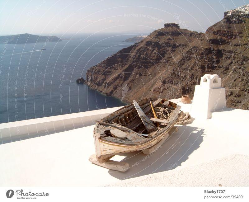 Wooden boat on Santorini Ocean Europe wooden boat