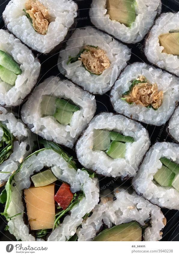 sushi Sushi Food Rice Japan Healthy Seafood Restaurant Dinner Roll Fish Salmon Lunch Tuna fish Japanese Chopstick Sushi Roll Gourmet Delicious Algae vegetarian