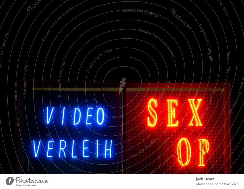 VIDEO RENTAL SEX (SH)OP Sex-shop Capital letter Typography Illuminate Broken Red Design Shop window Isolated Image Night Low-key Silhouette Signs and labeling