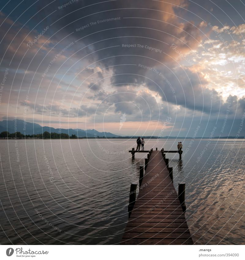 at Lake Chiemsee Vacation & Travel Tourism Trip Environment Nature Landscape Sky Clouds Horizon Summer Beautiful weather Footbridge Relaxation Dream Moody Calm
