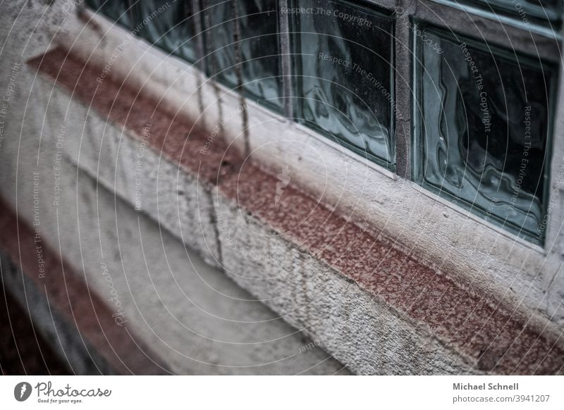 Old glass blocks on an old house Glass block Window Exterior shot Facade Colour photo Deserted Wall (building) Wall (barrier) House (Residential Structure)