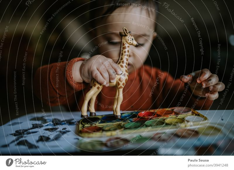Toddler playing with toy Authentic Giraffe Toys Caucasian 1 - 3 years Happy Child Infancy Colour photo Human being Lifestyle Joy Happiness Day Playing