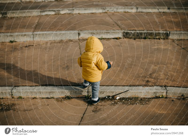 Rear view toddler climbing stairs Toddler Child 1 - 3 years casual Unrecognizable Stairs Climbing first steps Human being Colour photo Infancy Exterior shot