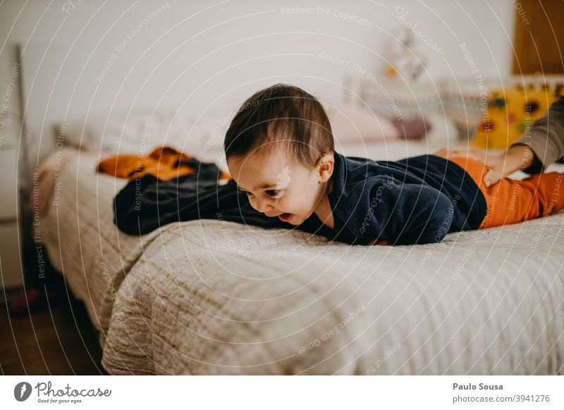 Toddler smiling Smiling smile at home Family & Relations Bed Bedroom Home Child bed Happy kid Love Lifestyle Infancy Mother Parents Authentic motherhood Morning