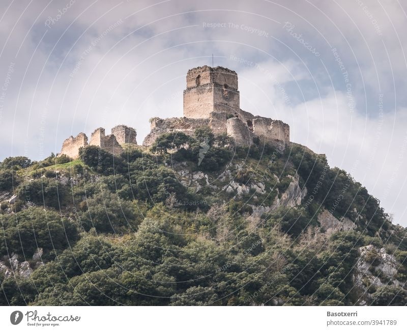 Castle ruins on a hilltop - Castillo de Ocio in the province of Álava, Basque Country, Spain castle Ruin Medieval times medieval mountain Hill Hilltop Peak