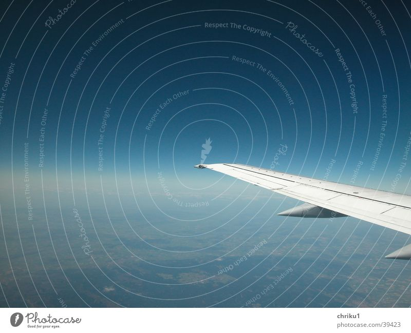 Sky Blue Vacation & Travel Airplane Horizon Earth Aviation Level Wing Beautiful weather In transit Means of transport Weightlessness