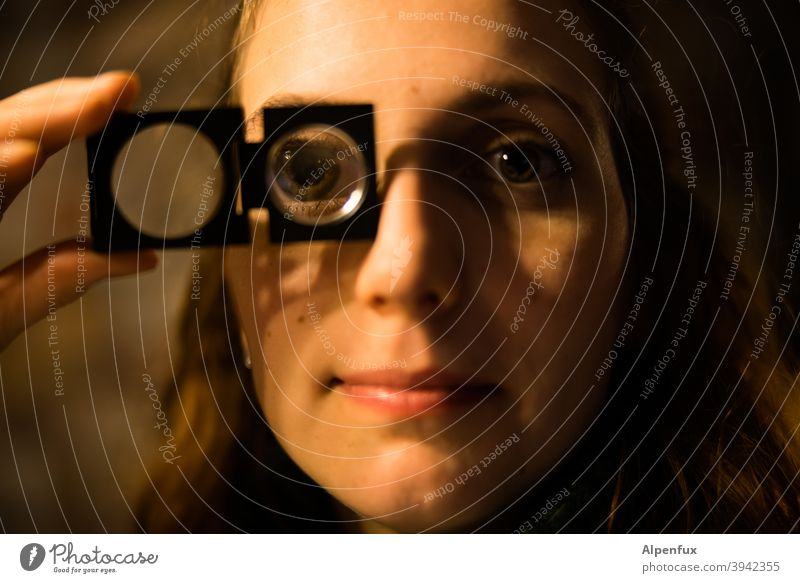 Universal Soldier Woman Magnifying glass Magnifying effect Close-up Colour photo Face of a woman portrait Eyes Young woman Youth (Young adults) 18 - 30 years