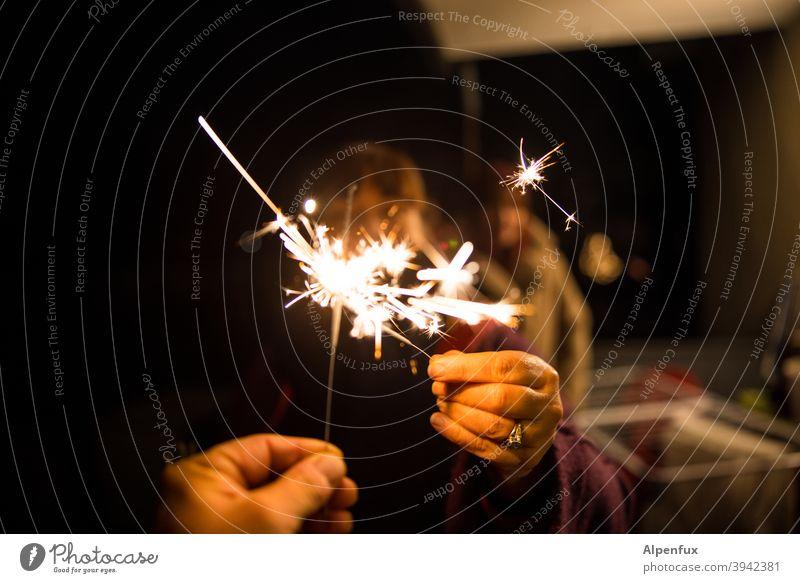 hot spot Sparkler sparklers New Year's Eve Light Night Feasts & Celebrations Fire Party Christmas & Advent Firecracker Burn Joy Bright Illuminate